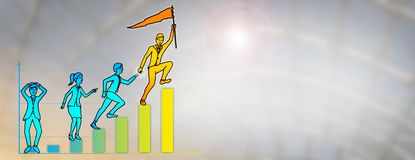 Business Leader Storming Uphill On Bar Chart. Drawing of young business leader storming uphill to reach the peak of a bar chart with one final leap, while Royalty Free Stock Images