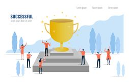 Business leader with a trophy and his team celebrating their success. Business success teamwork and successful. Flat design element. vector illustration Stock Photo