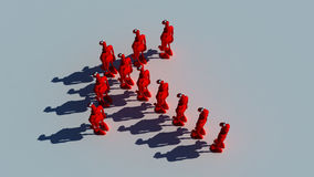 Business leaders. Group of red plasticine man that show an arrow Royalty Free Stock Photo
