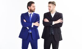 Business leaders of department. Men businessman formal suit stand confidently with crossed arms white background. Confident business bosses. Join business team stock photo