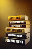 Business Leadership Attributes and Features in Literature. Business Leader Attributes, Traits, Characteristics and Features in Education Literature, Mastering royalty free stock image