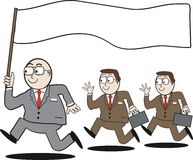 Business leadership cartoon. Cartoon of business leader running with blank flag, followed by executives with briefcases Stock Photography