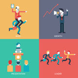 Business leadership character scenes concept icons set modern trendy flat vector illustration. Set of business cartoon illustrations Stock Image