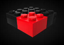 Business Leadership Strategic and Competitive Edge Concept Metap. Hor with Toy Plastic Blocks isolated in black Background Stock Images