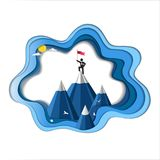 Business leadership and success concept, Businessman is on the mountain top with flag, Symbol of success Royalty Free Stock Image