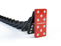 Business, leadership and teamwork concept - Red domino stops falling other dominoes Stock Photo