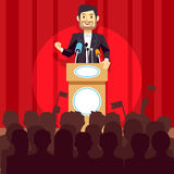 Business leadership vector concept with speaker businessman, politician on the podium Royalty Free Stock Images