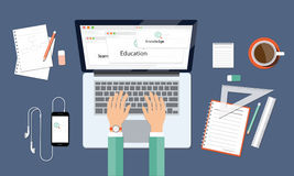 Business leanning knowledge and education onlin workspace Royalty Free Stock Photography