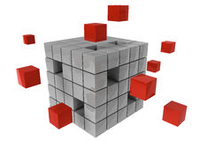 Business Leardership and teamwork partnership concept to archive a common goal. With red and grey cubes Stock Photo
