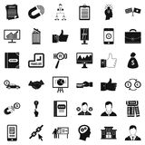 Business learning icons set, simple style. Business learning icons set. Simple style of 36 business learning vector icons for web isolated on white background Stock Photography
