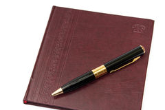 Business leather agenda with golden pen Royalty Free Stock Photography