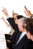 Business lecture. With hands raised in the air stock photo