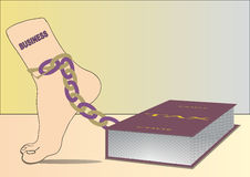 Business leg in chain, and tax code (book ) burden. Vector Stock Photo