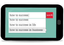Business lesson about success. Mobile's sceen show searching of  how to success Royalty Free Stock Photography