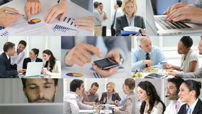 Business life. Business concept. Composition of various video clips representing the life business. Theme business. Businesspeople working in modern office
