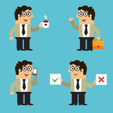 Business life employee poses vector illustration