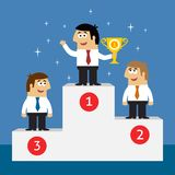 Business life employees on winners podium Stock Photography