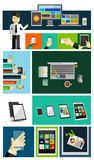 Business life and mobile devices flat concepts Stock Photos