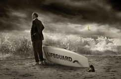 Business lifeguard. A gray tone image trying to portray a business lifeguard protecting business Stock Images