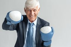 Business Lifestyle. Businessman in boxing standing isolated on gray hitting cheerful royalty free stock photography