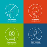 Business line art backgrounds. Finance and. Analytics, startup and creative idea. Graph marketing, optimization plan growth, rocket and work, creative Royalty Free Stock Photo