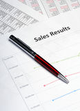 Business line chart showing sales results Stock Photography