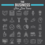 Business line icon set, finance symbols collection. Office vector sketches, logo illustrations, seo linear pictograms package isolated on black background, eps Royalty Free Stock Photo