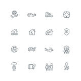 Business Line Icon Set. Business people insurance related line icon collection. Vector illustration set Royalty Free Stock Photos
