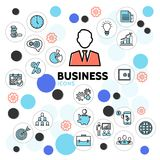 Business Line Icons Collection. With clock businessman diagram calendar safe bulb documents briefcase target graphs in circles isolated vector illustration royalty free illustration