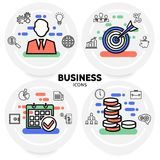 Business Line Icons Concept. With businessman teamwork bulb safe calendar document diagram chart coins clock briefcase isolated vector illustration royalty free illustration