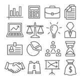 Business Line Icons. Gray Business Line Icons on white background Royalty Free Stock Images