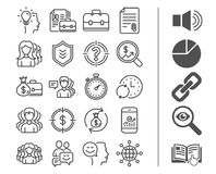 Business line icons. Group, Profiles and Case. Stock Photography