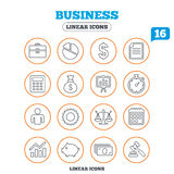 Business line icons. Money, chart and document Royalty Free Stock Photography