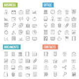 Business Line Icons. Business, office, documents and contacts line icons Royalty Free Stock Photos