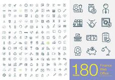 180 business line icons Vector Illustration