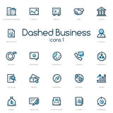Business line icons set with blue accent Stock Image