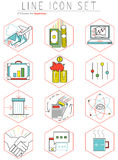 Business line icons set in flat design. Web. Business line icons set in flat style. Web design elements, pictogram, objects, office management and marketing Stock Photo
