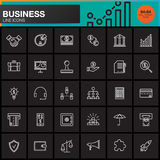 Business line icons set, outline vector symbol collection, linear pictogram pack isolated on black Royalty Free Stock Images