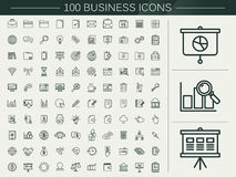 100 business line icons set. Over beige background Stock Photo