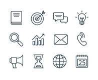 Business line icons. Set of business line icons, simple and clean modern vector style. Business symbols and metaphors in thin outlines with editable stroke Stock Image
