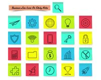 Business Line Icons On Sticky Notes. Vector Illustration Ready-To-Use 21 Business Line Icons On Sticky Notes Designed as Multiple Objects Involved In Work Royalty Free Stock Photography