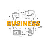 Business line illustration. Line flat design for website. White modern banner. Stock Photos