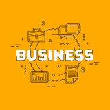 Business line illustration. Line flat design for website. Yellow modern banner. Royalty Free Stock Photos