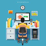 Business on line shopping and e-marketing concept. Person buying on e-commerce Stock Image