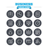 Business linear icons set. Thin outline signs. Business linear icons set. Businessman, briefcase and documents symbols. Presentation pie chart, money bag and Royalty Free Stock Photo