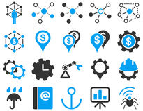Business links and industry icon set Stock Photography