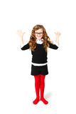 Business little girl making your hands up or greeting on white b Royalty Free Stock Photo