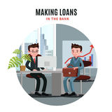 Business Loan Template. With businessman at meeting with agent in bank office vector illustration Royalty Free Stock Photo