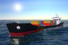 Business Logistic Concept. Tanker or Container Cargo Ship Moving. In Ocean Water extreme closeup. 3d Rendering Royalty Free Stock Photos