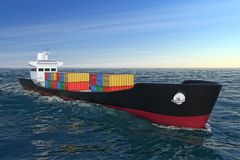 Business Logistic Concept. Tanker or Container Cargo Ship Moving. In Ocean Water extreme closeup. 3d Rendering Stock Image